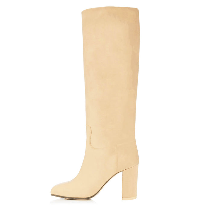Hebe, beige nude - wide calf boots, large fit boots, calf fitting boots, narrow calf boots