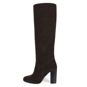 Cosmea suede, dark brown - wide calf boots, large fit boots, calf fitting boots, narrow calf boots