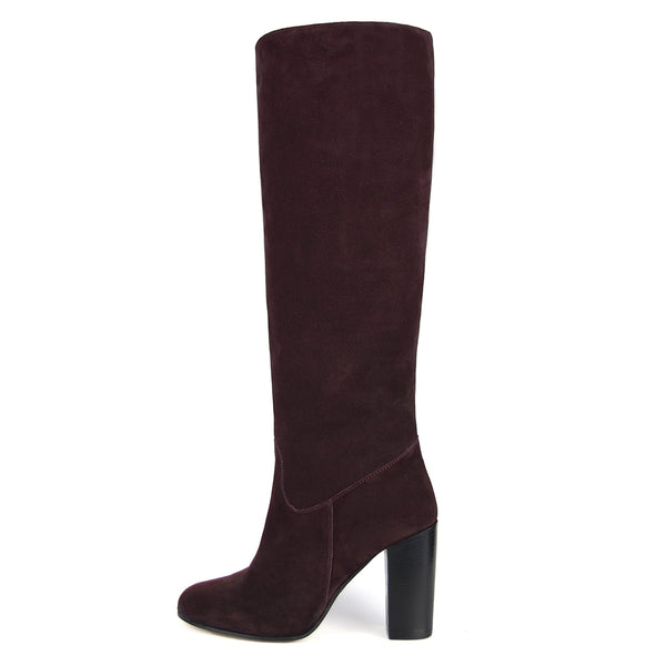 Cosmea suede, burgundy - wide calf boots, large fit boots, calf fitting boots, narrow calf boots