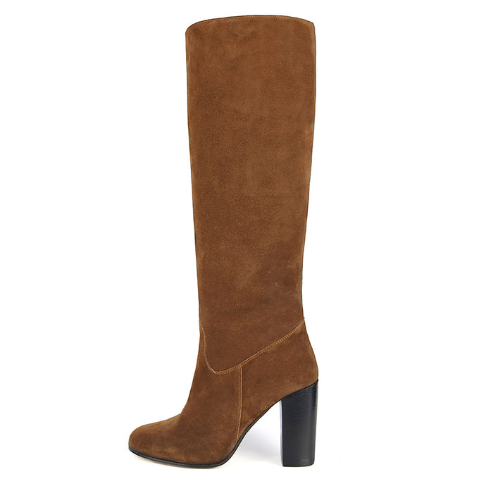 Cosmea suede, cognac - wide calf boots, large fit boots, calf fitting boots, narrow calf boots