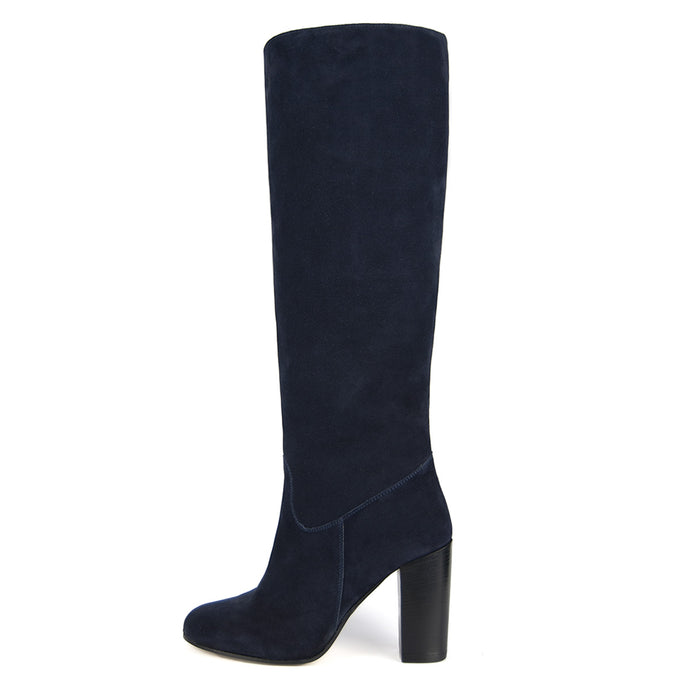 Cosmea suede, night blue - wide calf boots, large fit boots, calf fitting boots, narrow calf boots