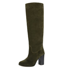 Cosmea suede, olive green - wide calf boots, large fit boots, calf fitting boots, narrow calf boots