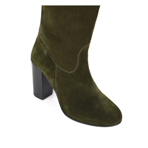 Lunaria suede, olive green - wide calf boots, large fit boots, calf fitting boots, narrow calf boots