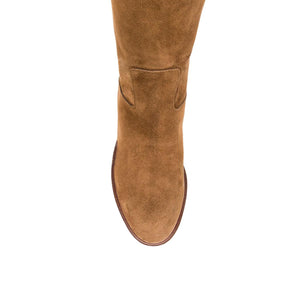 Iris suede, cognac - wide calf boots, large fit boots, calf fitting boots, narrow calf boots