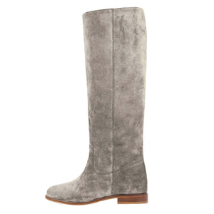 Iris suede, light grey - wide calf boots, large fit boots, calf fitting boots, narrow calf boots