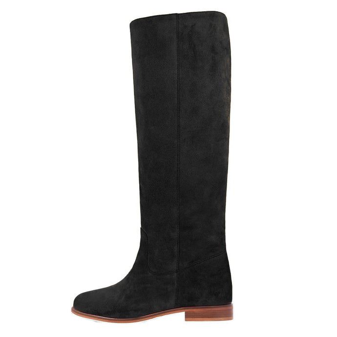 Iris suede, black - wide calf boots, large fit boots, calf fitting boots, narrow calf boots