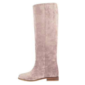 Iris suede, dust pink - wide calf boots, large fit boots, calf fitting boots, narrow calf boots