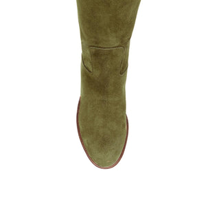 Iris suede, olive green - wide calf boots, large fit boots, calf fitting boots, narrow calf boots