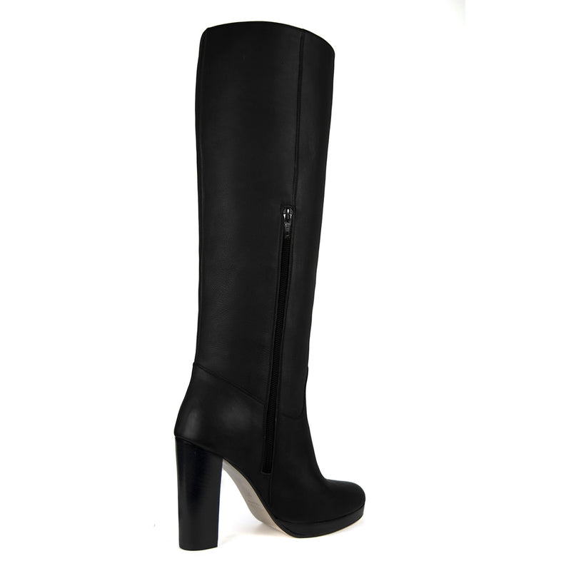 Ribes, black - wide calf boots, large fit boots, calf fitting boots, narrow calf boots