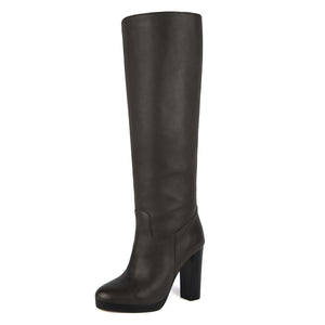 Ribes, dark brown - wide calf boots, large fit boots, calf fitting boots, narrow calf boots