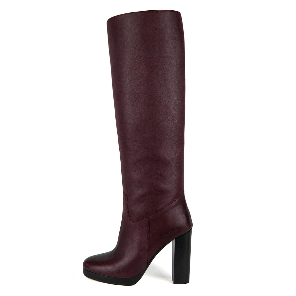 Ribes, burgundy - wide calf boots, large fit boots, calf fitting boots, narrow calf boots