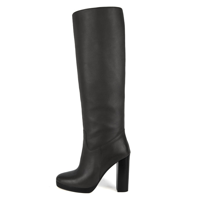 Ribes, grey - wide calf boots, large fit boots, calf fitting boots, narrow calf boots