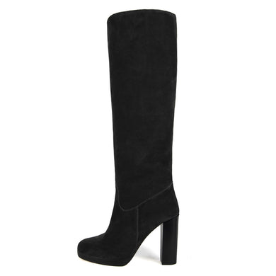 Ribes suede, black - wide calf boots, large fit boots, calf fitting boots, narrow calf boots
