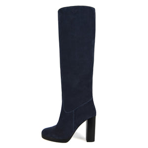 Ribes suede, night blue - wide calf boots, large fit boots, calf fitting boots, narrow calf boots