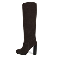 Ribes suede, dark brown - wide calf boots, large fit boots, calf fitting boots, narrow calf boots