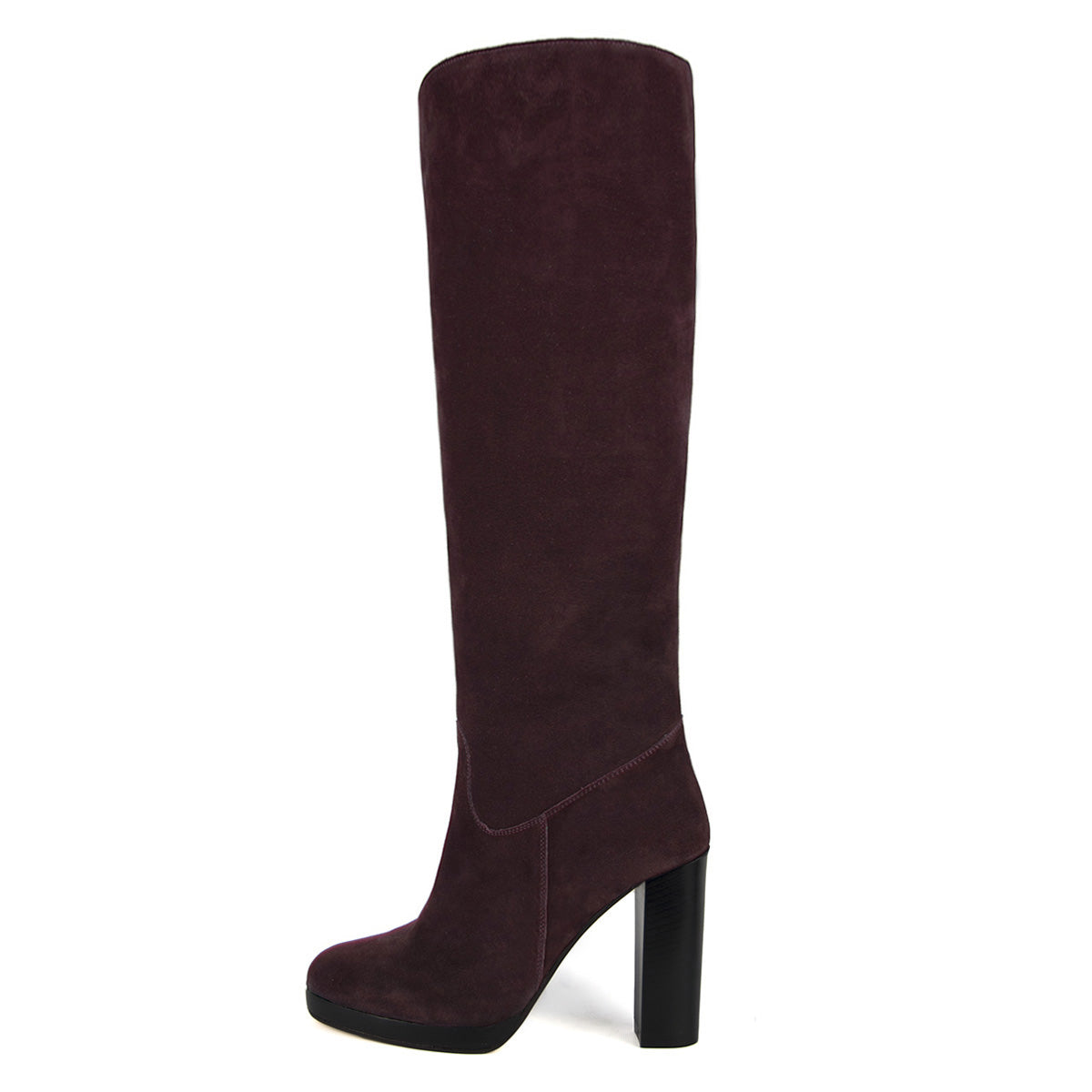 Ribes suede, burgundy - wide calf boots, large fit boots, calf fitting boots, narrow calf boots
