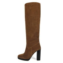 Ribes suede, cognac - wide calf boots, large fit boots, calf fitting boots, narrow calf boots