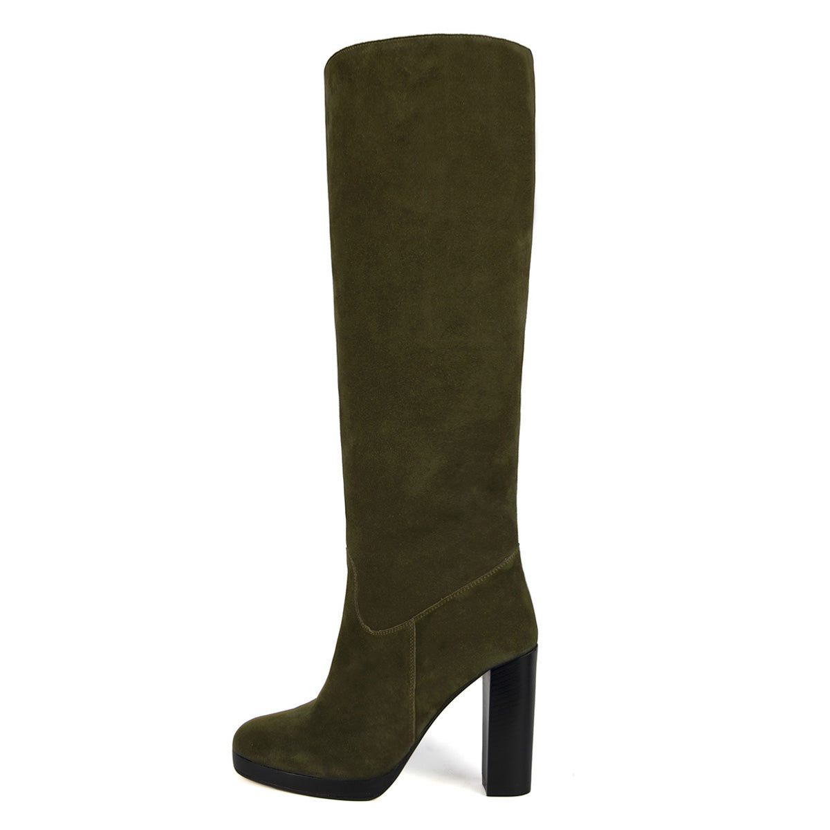 Ribes suede, olive green - wide calf boots, large fit boots, calf fitting boots, narrow calf boots