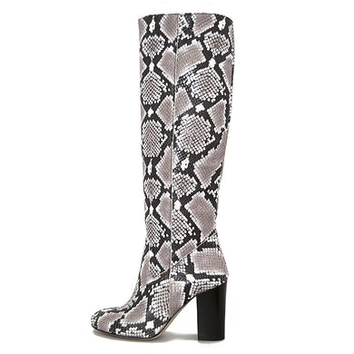 Python, natural beige - wide calf boots, large fit boots, calf fitting boots, narrow calf boots
