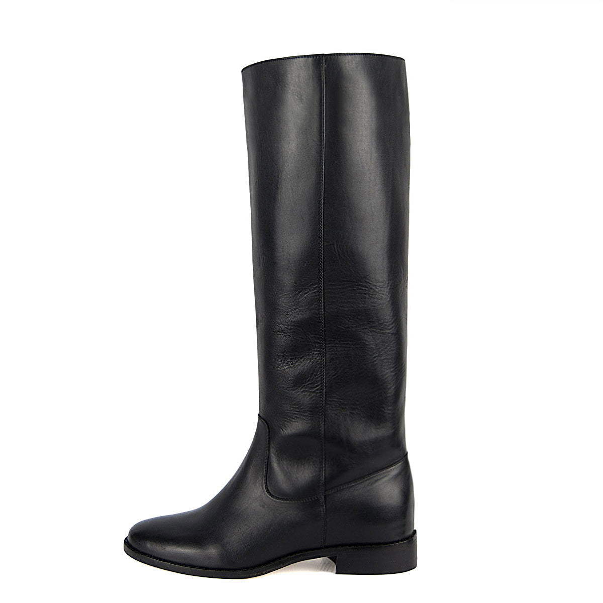 Achillea, black - wide calf boots, large fit boots, calf fitting boots, narrow calf boots