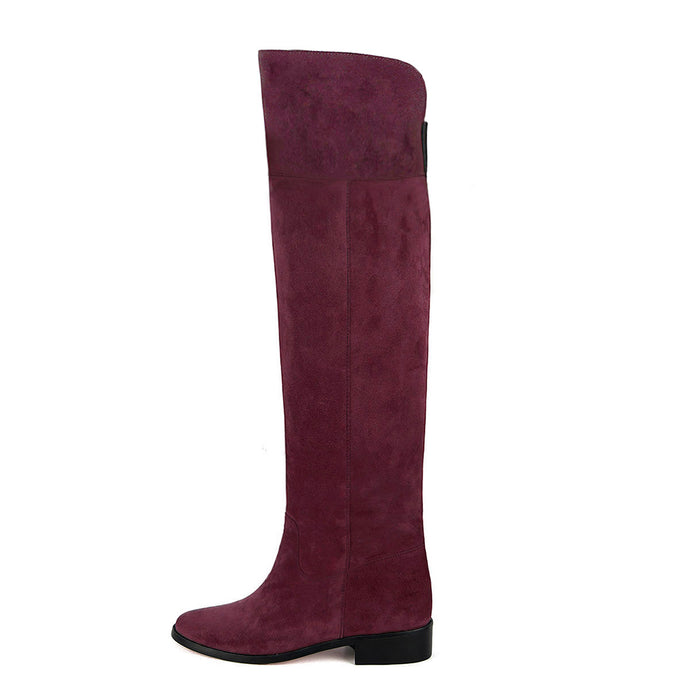 Mora suede, burgundy - wide calf boots, large fit boots, calf fitting boots, narrow calf boots