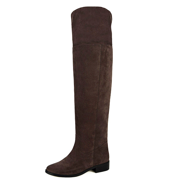 Mora suede, dark brown - wide calf boots, large fit boots, calf fitting boots, narrow calf boots