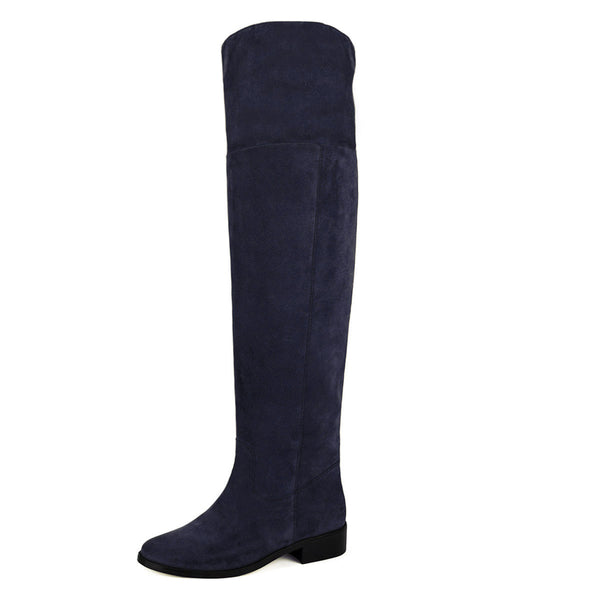 Mora suede, night blue - wide calf boots, large fit boots, calf fitting boots, narrow calf boots