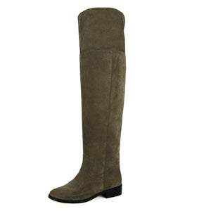 Mora suede, olive green - wide calf boots, large fit boots, calf fitting boots, narrow calf boots