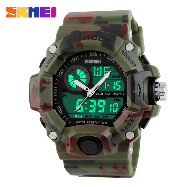 The Guerilla® Waterproof Military, Digital, Camo Watch -Mens Dual-Time Night Light LED Wrist Watch