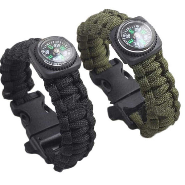 Pair of Survival Bracelets with Compass, Whistle, Paracord, blade and fire starter