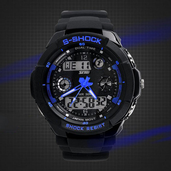 Multi Function Military S-Shock Sports Watch LED Waterproof Alarm
