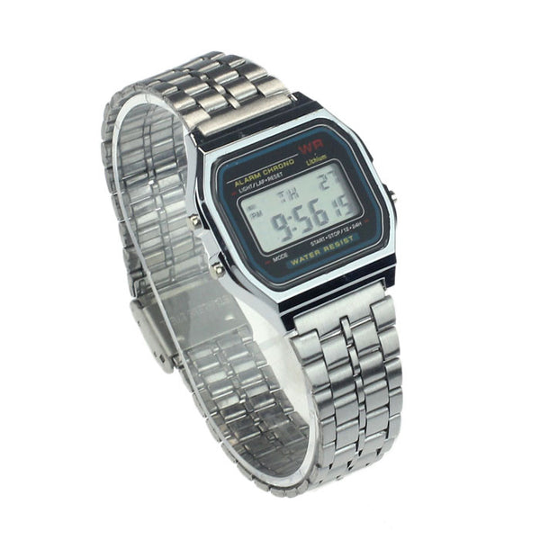 Vintage Womens Men Stainless Steel Digital Alarm Stopwatch Wrist Watch
