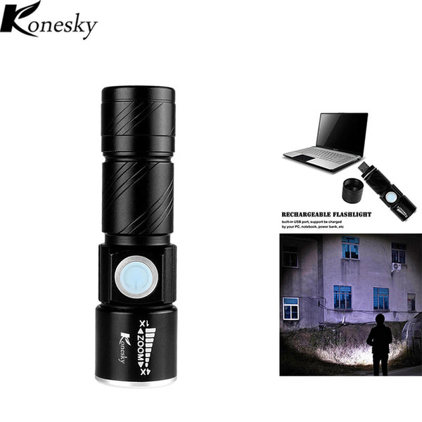 Ultra-Bright and Super Powerful Portable USB Rechargeable Flashlight Torch with LED Bulb and Zoomable Lens