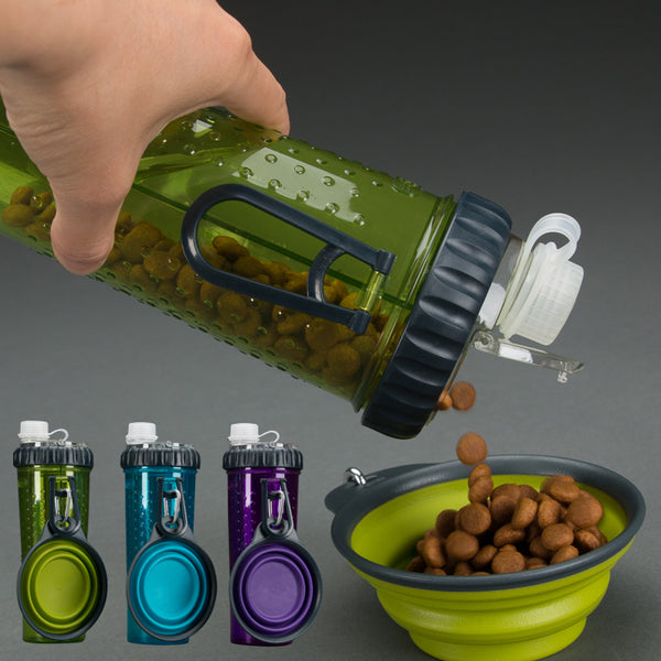 Portable Dog Feeder, Silicone Collapsible Travel Bowl with Attached Outdoor Water Bottle and Dog Food Dispenser (Perfect for Camping and Travelling!)