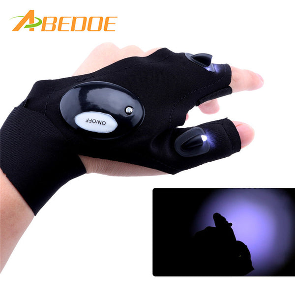 Outdoor Fingerless Glove LED Flashlight Torch Camping Lights Multipurpose Left/Right Hand Glove