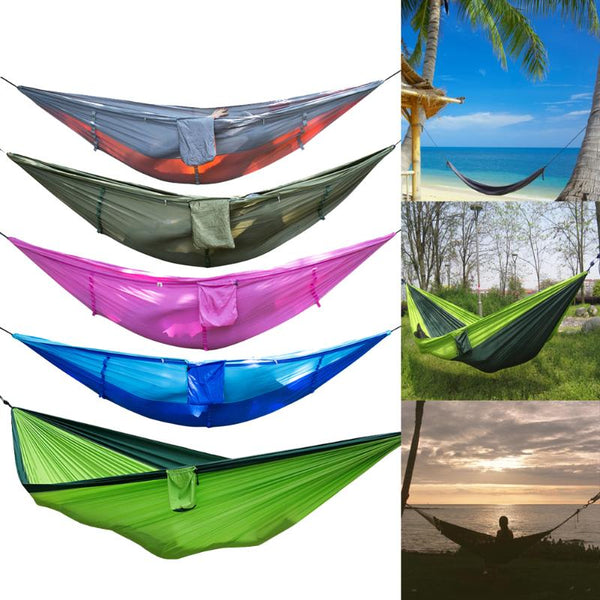 Outdoor Camping Mosquito Net Nylon Hammock Hanging Bed Sleeping Swing High Strength Outdoor Sleeping Hammock