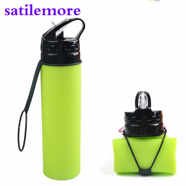 Sport Water Bottle Food Grade 600ML Creative Collapsible Foldable Silicone drink  Camping Travel my plastic bicycle