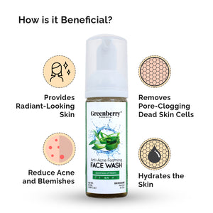 Anti-Acne Foaming Face Wash for a Clear Face, Pimple Control - Greenberry Organics