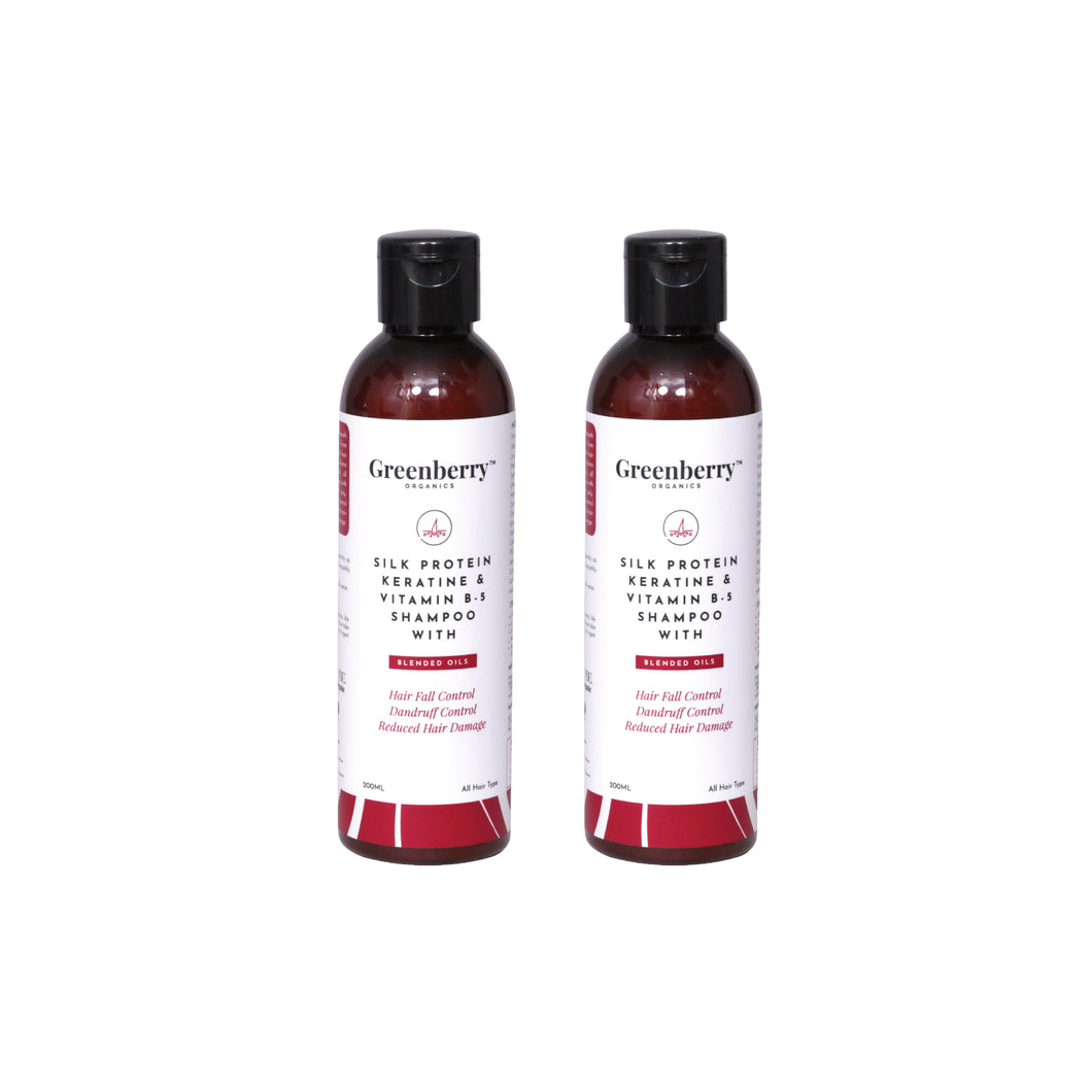 Greenberry Organics Silk Protein, Keratin & Vitamin B-5 Shampoo with Blended Oils for Hair Fall Control, Dandruff Control, Reduced Hair Damage - 200 ML Pack Of 2.