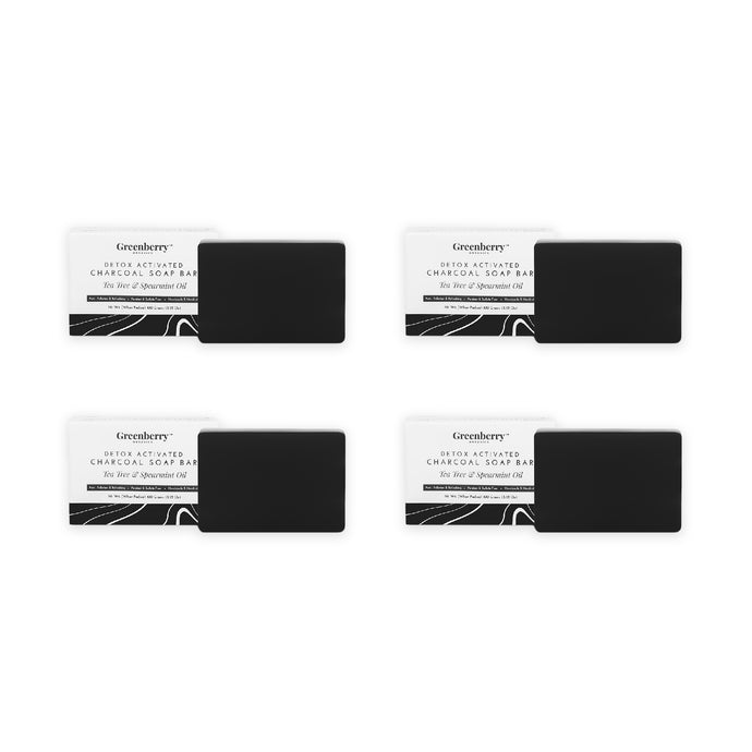 Detox Activated Charcoal Soap Bar Tea Tree & Spearmint Oil - Pack Of 4