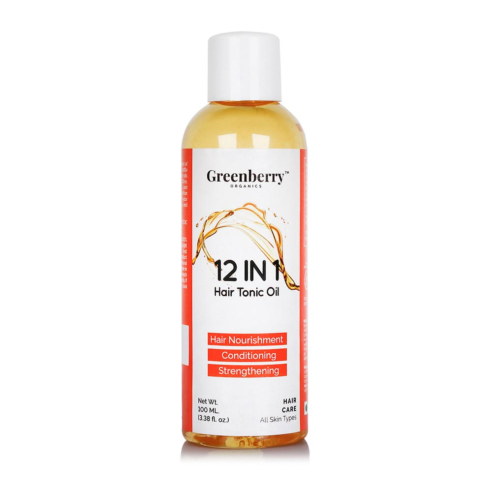 12 in 1 Hair Tonic Oil for Hair Strengthening, Conditioning & Dandruff Control - Greenberry Organics