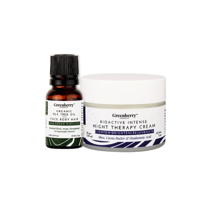 Greenberry Organics Combo of Tea Tree Oil for Face Body & Hair and Bio Active Intense Night Therapy Cream, (15ML + 50GM)