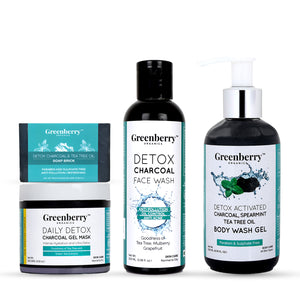 Daily Detox Charcoal Gel Mask, Detox Charcoal Face Wash, Charcoal Soap Brick & Charcoal Body Wash Gel - Greenberry Organics