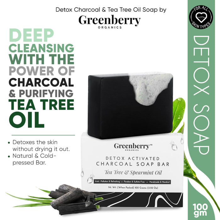 Detox Activated Charcoal Soap Bar Tea Tree & Spearmint Oil - Pack Of 3 - Greenberry Organics
