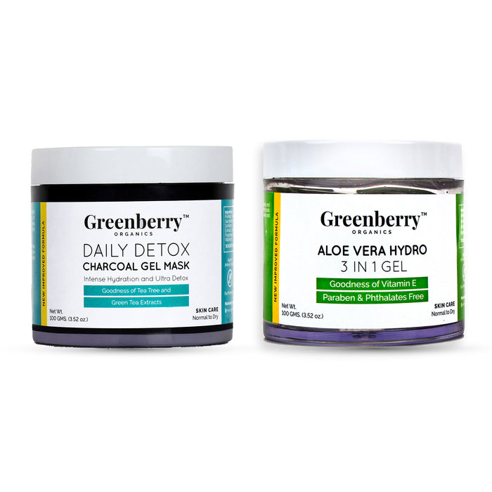 Daily Detox Charcoal Gel Mask  and Aloe Vera Hydro 3 IN 1 Gel Combo - Greenberry Organics