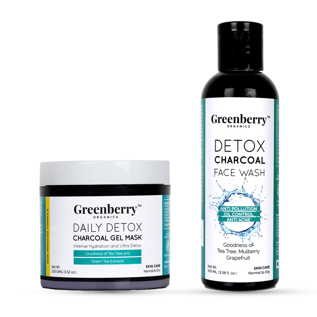 Daily Detox Charcoal Gel Mask and Detox Charcoal Face Wash Combo - Greenberry Organics