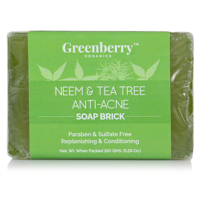 Neem & Tea Tree Anti-Acne Soap Brick - Greenberry Organics