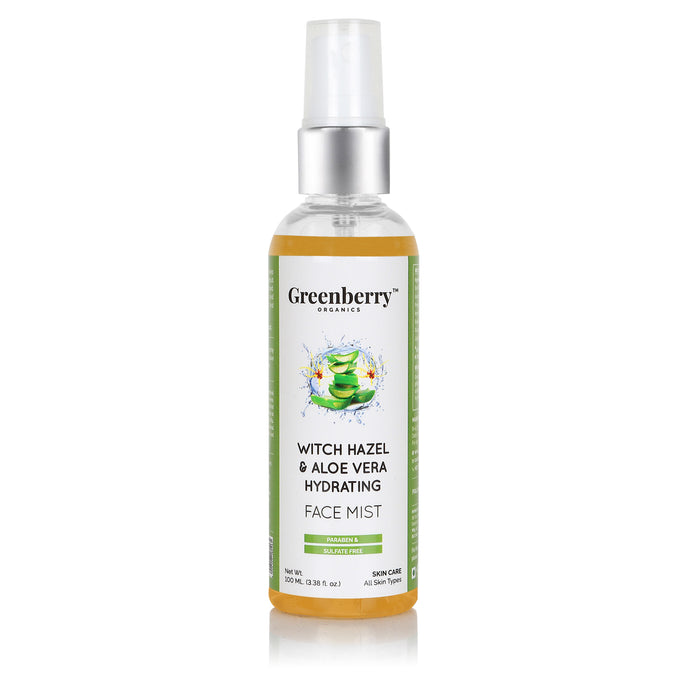 Witch Hazel & Aloe Vera Hydrating Face Mist for Pore Minimising & Clear Face - Greenberry Organics