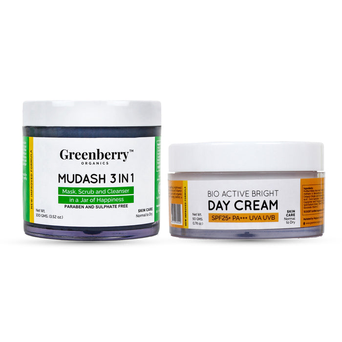 Mudash 3 In 1 and Bio Active Bright Day Cream Combo - Greenberry Organics