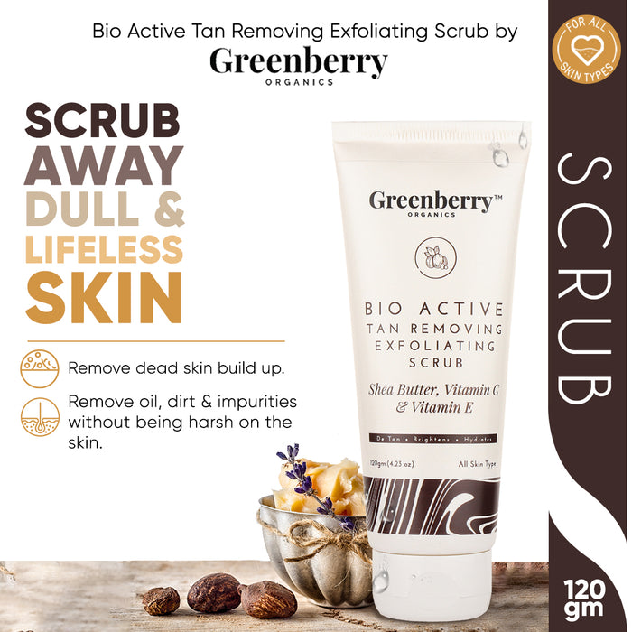 Bio Active Tan Removing Exfoliating Scrub for Pigmentation, Tan Removal & Skin Brightening 120 Grams - Buy 2 Get 1 Free - Greenberry Organics